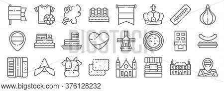 Holland Line Icons. Linear Set. Quality Vector Line Set Such As Maps, Cheese Market, Speculoos, Acco