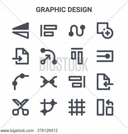 Set Of 16 Graphic Design Concept Vector Line Icons. 64x64 Thin Stroke Icons Such As Align, Export Fi