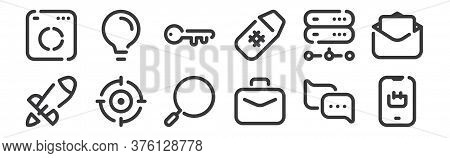 12 Set Of Linear Seo Icons. Thin Outline Icons Such As Ecommerce, Briefcase, Target, Server, Keyword