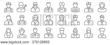 Professions Line Icons. Linear Set. Quality Vector Line Set Such As Chef, Teacher, Captain, Nanny, A