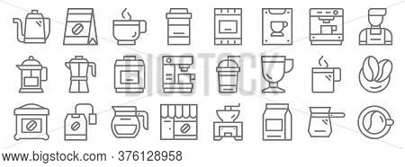 Coffee Line Icons. Linear Set. Quality Vector Line Set Such As Coffee Cup, Coffee Bean, Shop, Beans,