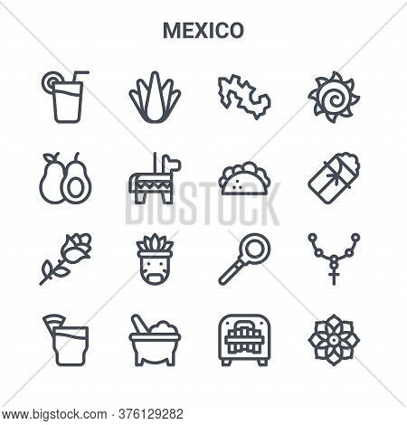 Set Of 16 Mexico Concept Vector Line Icons. 64x64 Thin Stroke Icons Such As Agave, Avocado, Tamales,