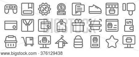 Ecommerce Line Icons. Linear Set. Quality Vector Line Set Such As Online Shop, Purchase, Hanger, Sho