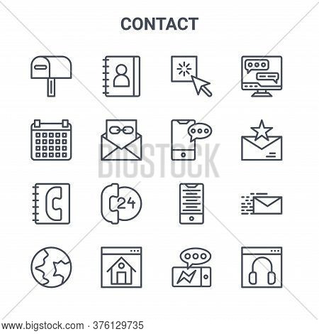Set Of 16 Contact Concept Vector Line Icons. 64x64 Thin Stroke Icons Such As Contact Book, Calendar,