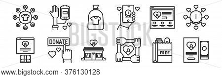 12 Set Of Linear Charity Icons. Thin Outline Icons Such As Charity, Charity, Charity, Blood Donation