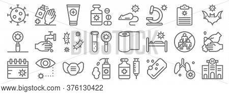 Coronavirus Line Icons. Linear Set. Quality Vector Line Set Such As Hospital, Soap, Hygiene, Calenda