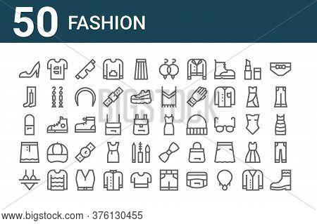 Set Of 50 Fashion Icons. Outline Thin Line Icons Such As Boot, Bikini, Skirt, Shoulder Bag, Leotard,