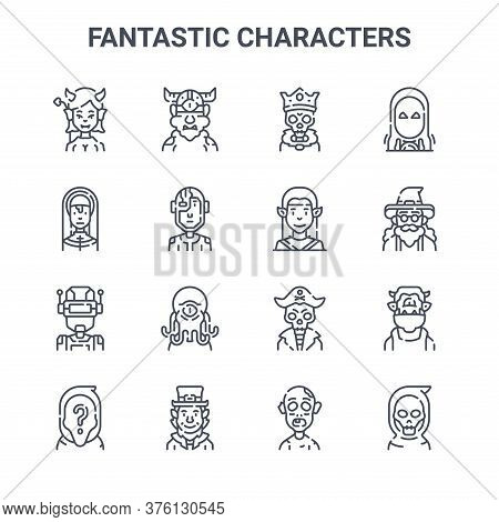 Set Of 16 Fantastic Characters Concept Vector Line Icons. 64x64 Thin Stroke Icons Such As Cyclops, N