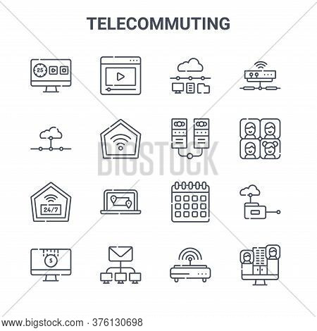 Set Of 16 Telecommuting Concept Vector Line Icons. 64x64 Thin Stroke Icons Such As Video, Network, M