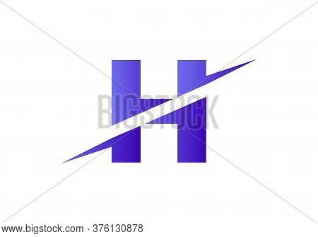 H Letter Logo With Slice Concept Vector. Colorful Slice H Letter Logo Modern, Minimal, Elegant, Bran