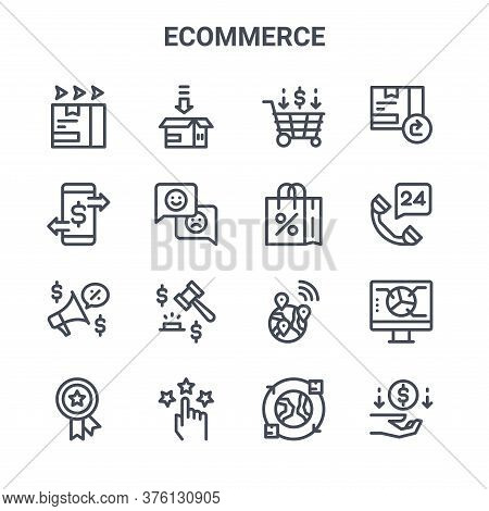 Set Of 16 Ecommerce Concept Vector Line Icons. 64x64 Thin Stroke Icons Such As Packing, Transaction,