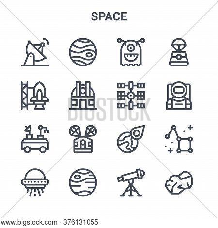 Set Of 16 Space Concept Vector Line Icons. 64x64 Thin Stroke Icons Such As Jupiter, , Astronaut, Ast
