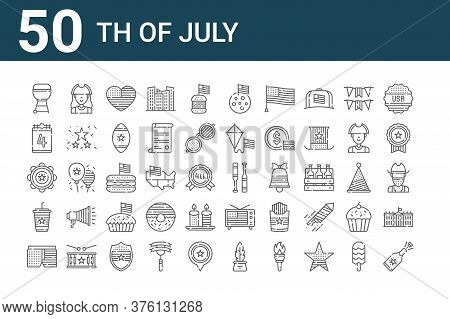 Set Of 50 Th Of July Icons. Outline Thin Line Icons Such As Champagne, Shorts, Coffee, Tambourine, T