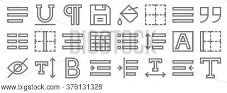 Text Editor Line Icons. Linear Set. Quality Vector Line Set Such As Text, Text, Right Indent, Hidden