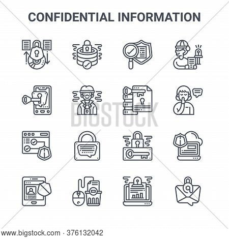 Set Of 16 Confidential Information Concept Vector Line Icons. 64x64 Thin Stroke Icons Such As Databa