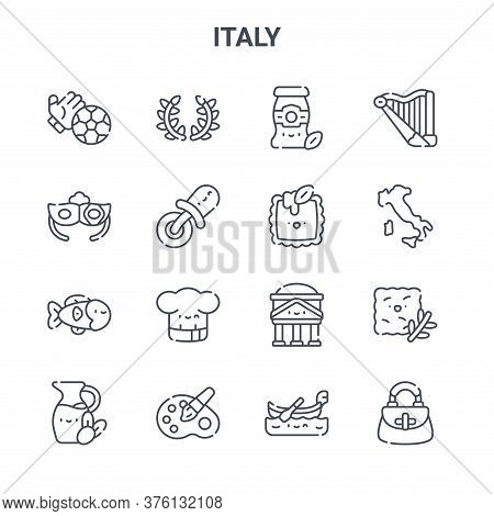Set Of 16 Italy Concept Vector Line Icons. 64x64 Thin Stroke Icons Such As Laurel, Eye Mask, Italy,