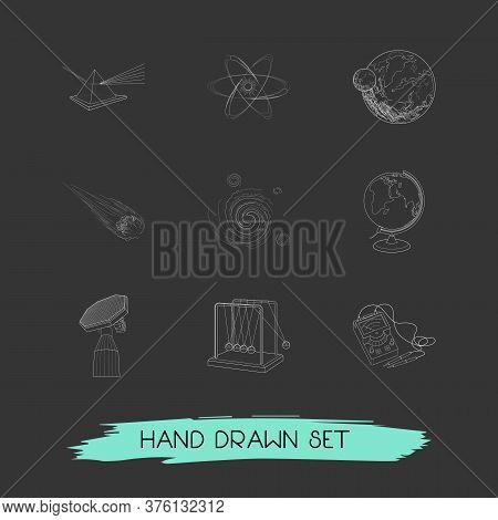 Set Of Physics Icons Line Style Symbols With Planet With Satellite, Electrons, Cosmology And Other I
