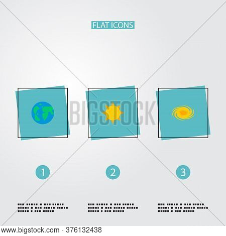 Set Of Galaxy Icons Flat Style Symbols With Galaxy, Sun, Globe And Other Icons For Your Web Mobile A