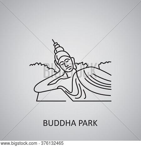 Buddha Park In Laos, Vientiane. Buddha Statue Icon. Tourist Places And Landmarks.