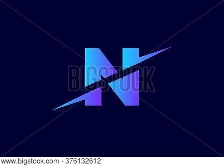 N Letter Logo With Slice Concept Vector. Colorful Slice N Letter Logo Modern, Minimal, Elegant, Bran