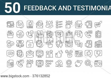 Set Of 50 Feedback And Testimonials Icons. Outline Thin Line Icons Such As Heart, Top Rated, Video C