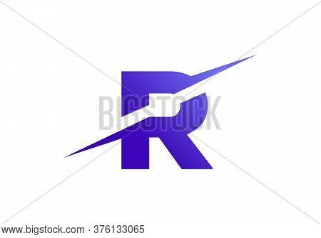 R Letter Logo With Slice Concept Vector. Colorful Slice R Letter Logo Modern, Minimal, Elegant, Bran