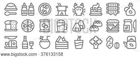 Gastronomy Line Icons. Linear Set. Quality Vector Line Set Such As Teapot, Broccoli, Cake Piece, Ham