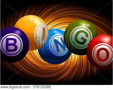 3d Illustration Of Bingo Balls Spelling The Word Bingo Over Abstract Yellow Florescent Swirl On Blac