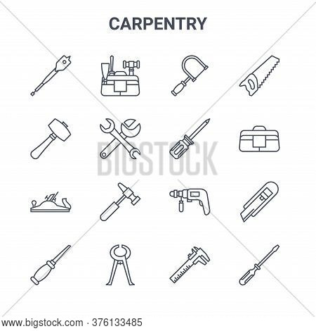 Set Of 16 Carpentry Concept Vector Line Icons. 64x64 Thin Stroke Icons Such As Kit, Mallet, Bag, Dri