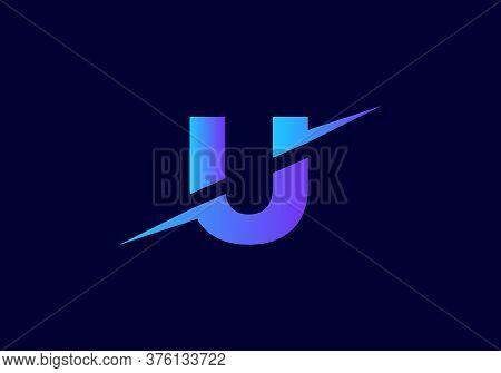 U Letter Logo With Slice Concept Vector. Colorful Slice U Letter Logo