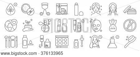 Beauty Cosmetics Line Icons. Linear Set. Quality Vector Line Set Such As Comb, Beauty, Makeup Palett