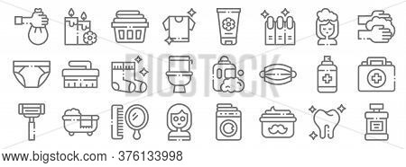 Hygiene Routine Line Icons. Linear Set. Quality Vector Line Set Such As Mouthwash, Moustache Cream,