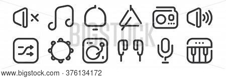 12 Set Of Linear Sound Icons. Thin Outline Icons Such As Piano, Earphones, Tambourine, Radio, Notifi
