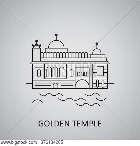 Golden Temple In Amritsar Icon. Famous Monument Of India