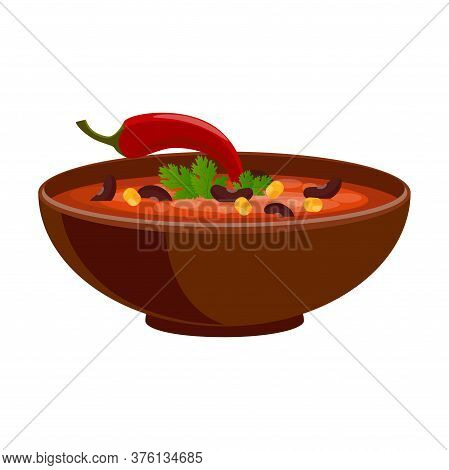 Chili Con Carne In Bowl - Mexican Traditional Food. Isolated On White Background. Vector Flat Color