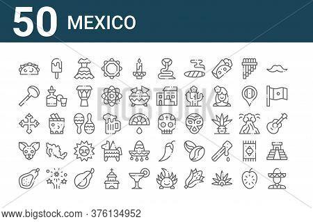 Set Of 50 Mexico Icons. Outline Thin Line Icons Such As Mariachi, Papaya, Chihuahua, Cross, Coa De J