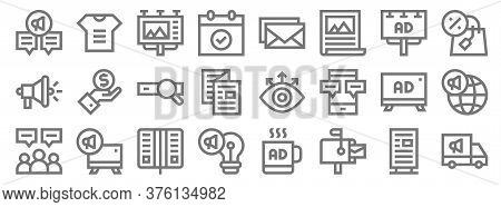 Advertisement Line Icons. Linear Set. Quality Vector Line Set Such As Advertisement, Mailbox, Idea,
