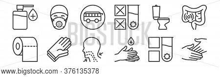 12 Set Of Linear Stop Virus Icons. Thin Outline Icons Such As Hands, Antiseptic, Rubber Gloves, Rest