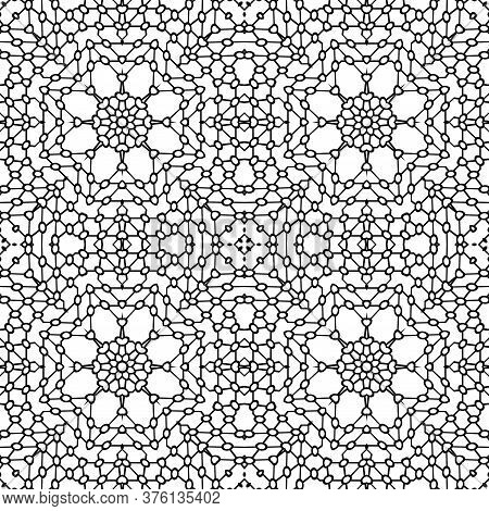Simple Symmetric Coloring Page For Kids And Adults. Seamless Pattern, Relax Black And White Ornament