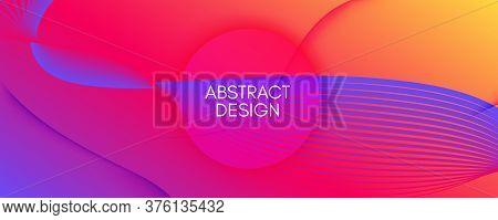 Colorful Fluid Shape. Flow Abstract Flyer. Vector Dynamic Lines. Technology Fluid Shape. Modern Patt