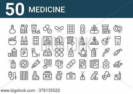 Set Of 50 Medicine Icons. Outline Thin Line Icons Such As Inoculate, Iv Bag, Aerosol, Mixture, Ayurv