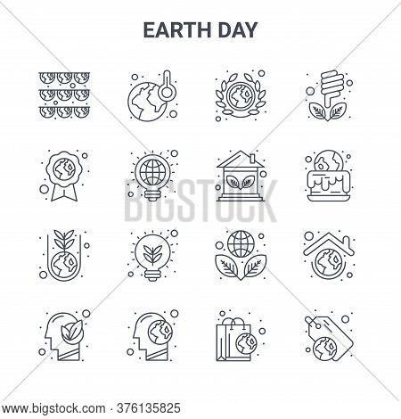 Set Of 16 Earth Day Concept Vector Line Icons. 64x64 Thin Stroke Icons Such As Global Warming, Eco F