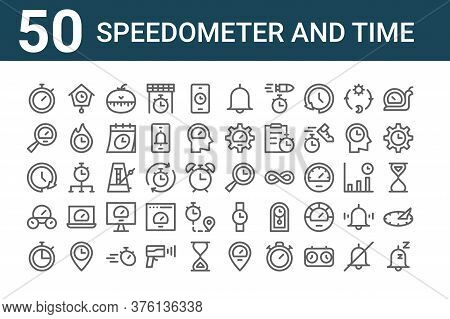 Set Of 50 Speedometer And Time Icons. Outline Thin Line Icons Such As Sleeping, Stopwatch, Speedomet