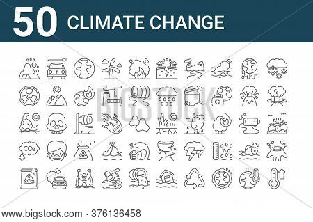 Set Of 50 Climate Change Icons. Outline Thin Line Icons Such As Temperature, Nuclear, Co, Bull, Nucl