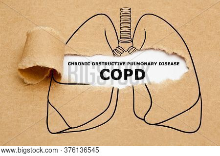 Text Chronic Obstructive Pulmonary Disease Copd Appearing Behind Torn Brown Paper In Human Lungs Dra
