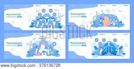 Traumatologist, Reproductologist, Pulmonologist, Otolaryngologist Concept Vector For Landing Page, B
