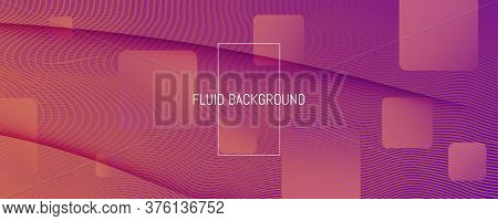 Abstract Fluid Background. 3d Futuristic Layout. Flow Lines Texture. Purple Abstract Fluid Backgroun