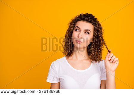 Photo Of Attractive Pretty Cunning Lady Wound Perfect Pretty Curl Hairdo On Finger Look Side Empty S