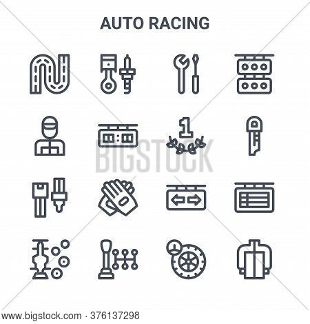 Set Of 16 Auto Racing Concept Vector Line Icons. 64x64 Thin Stroke Icons Such As Piston, Racer, Key,