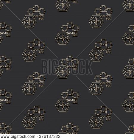Golden Honeybee. Vector Background With Bee In Honeycomb. Design Seamless Pattern In Linear Style.
